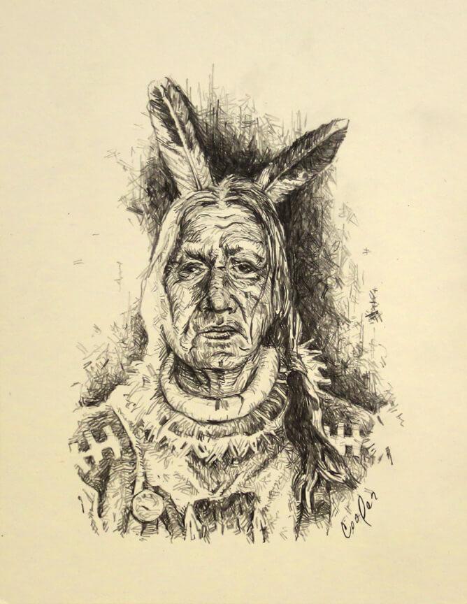 Pencil sketch of American Indian