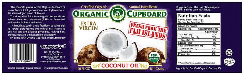 Organic Cupboard Coconut Oil Label